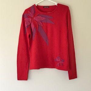 Vintage Poinsettia Floral Michael Simon Sweater